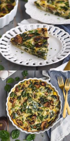 This Crustless Spinach Quiche is full of delicious flavor and at only 140 calories a slice it is the perfect light brunch recipe! #breakfast #brunch #quiche