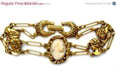 30% Off Goldette Cameo Bracelet Vintage by TheJewelryLadysStore