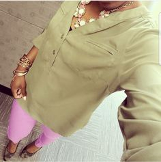 Olive Shirt, Lavender Pants, and Camo Pumps – Pink and Gabulous