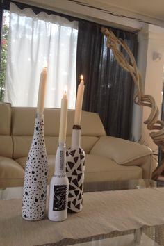Bottle decoration(painting) with Candles Nice interior idea
