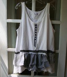 SALE  Summer Shabby Linen Lagenlook Tunic Cami by Breathe1960, $35.00