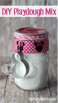 DIY Playdough Mix in a Jar & like the idea of using cupcake wrapper as topper for lid