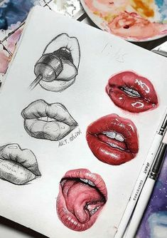 Learn how to draw a mouth with these easy to follow guides that will help you to accomplish a drawing that you really like. Art Drawings Sketches Simple, Pencil Art Drawings, Realistic Drawings, Colorful Drawings, Sketches To Draw, Cool Simple Drawings, Creative Drawing Ideas, Ideas For Drawing, Drawing Designs