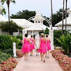 """Pretty in pink bridesmaids help carry the bride's dress as she heads to Disney's Wedding Pavilion to say """"I do"""""""