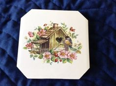 Ceramic Coasters Bird House Porch  Appox. 4x4  by Giseles Designs, $3.50