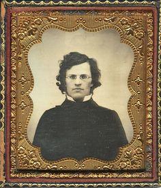 "ca. 1859, [daguerreotype portrait of a bespectacled gentleman, handwritten on verso: ""Present from dear George""]"