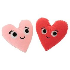 Plush Heart Faces Dog Toy - Pink/Red