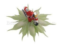 Stupenda bomboniera completa di coccarda portaconfetti e modellino moto, in resina di colore rosso e argento...