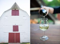 The barn and a glass of Blenheim White Table Wine