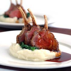 Rosemary & Parmesan Crusted Lamb Racks with Mash Potato & Red Wine Jus. Apparently I just like red meat in a red wine jus stacked on potatoes? Lamb Recipes, Meat Recipes, Gourmet Recipes, Cooking Recipes, Family Recipes, Gourmet Desserts, Plated Desserts, Recipes Dinner, Mashed Red Potatoes