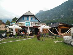 Hostel Soca Rocks is a perfect stay for advwnturers in Bovec, Slovenia Slovenia, Hostel, Rocks, Cabin, House Styles, Places, Home Decor, Lugares, Room Decor