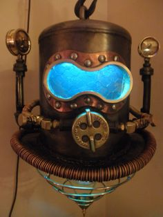 Steampunk Shallow Water Diving Helmet Machine Age Industrial Hanging Lamp-Art