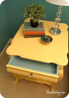 Mellow Yellow side table {with light blue drawer}