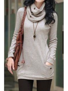 Button Turtleneck Wool Blend Pocket Fitted Tunic
