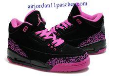 7a0d980b6d10 Femmes Air Jordan 3 Fluff Noir Rose Chaussures Shoes Sneakers