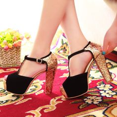 Women's Colour-matching Thick Heel Ankle Strap Pumps Sandals