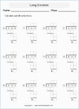 Divided 3 digit numbers by 1 digit, using the long division methods. These division sums have remainders! Free math learning material for advanced students or for extra practice and tutorial purposes. Print, complete and master math!