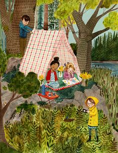 """Illustrated by Abigail Halpin, """"Fort Building Time"""" by Megan Wagner Lloyd won Knopf Books for Young Readers in Building Illustration, Illustration Art, Build A Fort, Houghton Mifflin Harcourt, Penguin Books, Art Drawings, Childhood, Watercolor, Artist"""