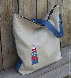 """Женские сумки ручной работы. Ярмарка Мастеров - ручная работа. Купить Сумка-рюкзак из льна """"Маяк"""". Handmade. Синий, маяк"""