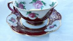 Items similar to Vintage Royal Heidelberg Winterling Bavaria Porcelain Cup Saucer Burgandy Pink Roses Gold Cameos English Garden Valentine Day on Etsy White Coffee Cups, Tea Cup Set, Antique Shops, Bavaria, Vintage Beauty, Cup And Saucer, Valentine Day Gifts, Tea Party, 1950s
