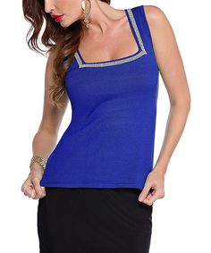 Another great find on #zulily! Royal Blue & Silver Square Neck Top - Women by Belldini #zulilyfinds