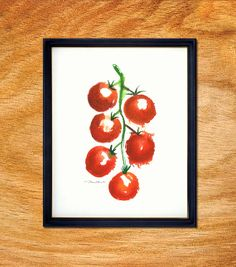Cherry tomato watercolor painting, Vegetable Art, Kitchen poster, Fruit artwork, Kitchen wall art, Home decor, Red, 8x10, Buy 2 Get 1 Free on Etsy, $21.33 CAD