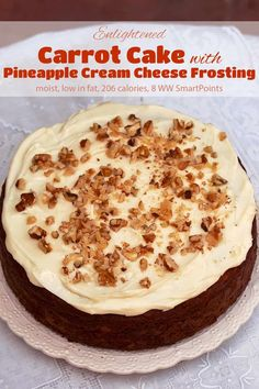 A much lighter, healthier version of traditional carrot cake that's moist and delicious thanks to a generous amount of crushed pineapple! Low Fat Carrot Cake, Carrot Cake With Pineapple, Carrot Cakes, Cream Cheese Icing, Cake With Cream Cheese, Cream Cheeses, Ww Desserts, Dessert Recipes, Ww Recipes