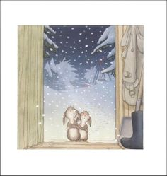nick Butterworth / One snowy night Children's Book Illustration, Book Illustrations, Percy The Park Keeper, Butterworth, Night Looks, Christmas Art, Pretty Pictures, Creative Inspiration, Art Day