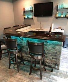 Finished Bar Photo Gallery – Bar Rails & Parts - Aufenthaltsraum Home Bar Plans, Basement Bar Plans, Basement Bar Designs, Home Bar Designs, Basement Renovations, Basement Ideas, Basement Bars, Basement Ceilings, Rustic Basement