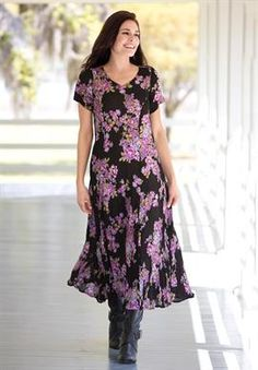 Plus Size Dress in Maxi Length, floral print, crinkle fabric from Woman Within