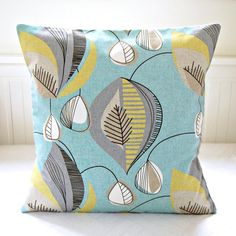 blue retro decorative pillow cover grey yellow lime cushion cover 18 inch