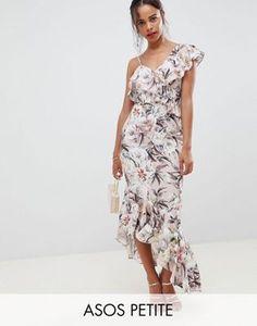 75908d800cb DESIGN Petite pretty light floral print ruffle maxi dress