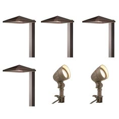 Hampton Bay Low Voltage Bronze Outdoor Integrated Led Landscape Light Kit With 2 Flood Lights And 4 Path 6 Pack