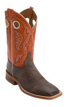 Justin Bent Rail Men's Chocolate w/ Light Orange Top Square Toe Western Boots