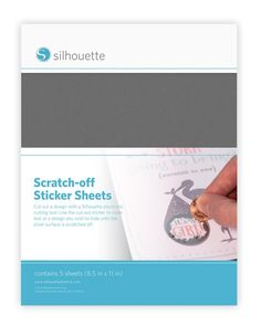 Scratch Off Sticker Sheets from Silhouette America! The 8.5 in. x 11 in. scratch-off sheets have an adhesive film with an opaque coating. Simply print the text that you want to be temporarily hidden, adhere a scratch-off cut out over the printed area, and then scratch off the opaque area to reveal the message!