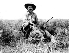 Ernest Hemingway hunting a fucking lion.