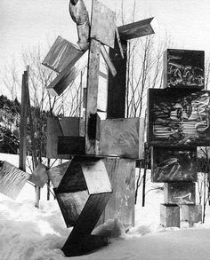 David Smith Cube Totem Sentinel, Cubi IX, Cubi III in the snow, at Bolton Landing, NY .