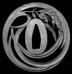 "Sukashi Tsuba of Katana (""Ear of rice"") from the Edo Period Katana, Samurai Weapons, Samurai Swords, Art Japonais, Japanese Sword, Japan Art, Sword Art, Ancient Art, Art Forms"