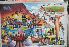 Образчик конголезского «наивного искусства». На картине Конго — ад, а Европа — рай на Земле, что точно отражает представления местных о мире