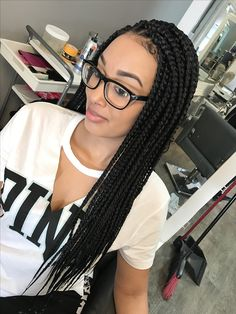 Medium long box braids