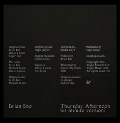 LP cover — Re-design proposal for Brian Eno 'Thursday Afternoon' album — Ongoing series — 2016