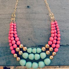 Clementine Mint Layered Bead Necklace - great example for what can be done with round beads and not be boring