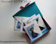 Teacher Gifts: All Occasion Saints Cards...our newest custom Teacher gifts for end of school! Check out the ready-to-play Catholic game sets for teachers!