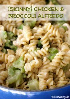 """Healthy chicken and broccoli alfredo recipe. I love pasta and I love a """"skinny"""" pasta ten times more!"""