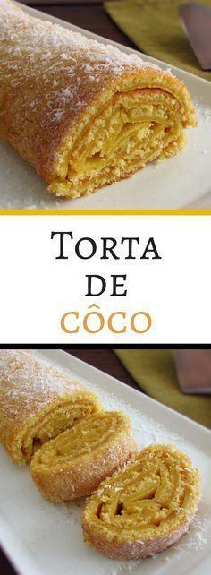 Torta de côco | Food From Portugal. Adora o sabor do côco e quer um bolo diferente? Experimente esta receita de torta de côco, tem excelente apresentação e é muito saborosa. #torta #côco #receita