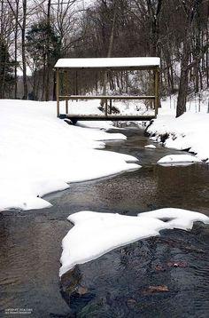 Bridge at cottage, snow.  Jack Corn Photography