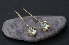 18K Gold Green Amethyst Dangle Earrings - Green Gemstone Earrings - 18K Gold Lollipop Earrings - Green Gem Gold Drop Earrings Free Shipping