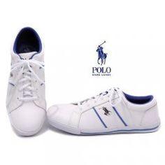 Polo Hommes Vaughn cuir Shoes-White/Blue