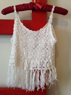 90s crocheted cropped tank / belly shirt with fringe, small - Vintage -