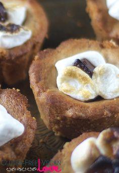 Gluten-Free Vegan Peanut Butter S'mores Cookie Cups